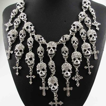 Crystal Skull Cross Pendant Collar