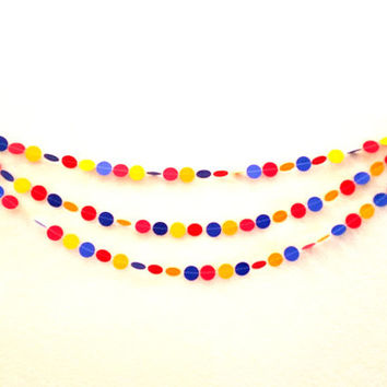 Primary Colors Paper Garland, Sewn Paper Garland, Red, Yellow and Blue Garland for Birthdays, Dorm Decor, Home Decor, Baby Showers