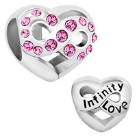 Pugster Heart Love Infinity Pink Birthstone Crystal Charms Sale Cheap Jewelry Beads Fits Pandora Bracelet