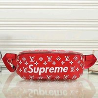 LV X Supreme Stylish Leather Wallet Waist Bag Single-Shoulder Bag Red I