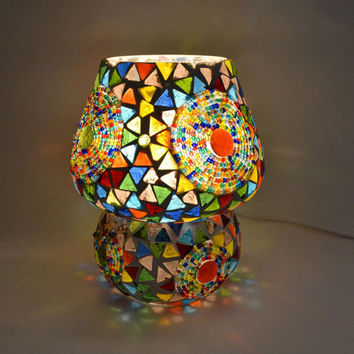 Indian mosaic table lamp - mushroom shape -  multi colour glass mosaic with traingles & beads