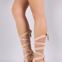 Liliana Suede Open Toe Lace Up Sash Chunky Heel