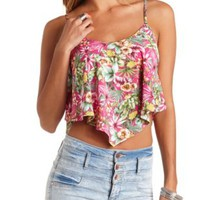 Tropical Print Trapeze Crop Top by Charlotte Russe