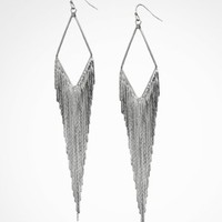 DIAMOND SHAPED METAL FRINGE EARRINGS