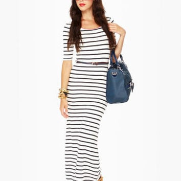 Cute Striped Dress - Maxi Dress - Short Sleeve Dress - $41.00
