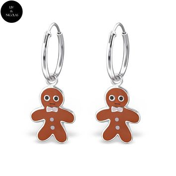 Solid 925 Sterling Silver Colorful Gingerbread Earrings Hoop