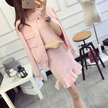 2 Piece Set Women 2016 Fashion Women Clothing Set Women 2 Pieces Set Crop Top And Skirt Set Fishtail Dress Knit Jackets&Outwears
