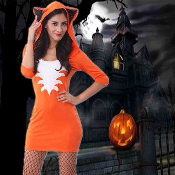 Free Shipping Cute Orange Tail Fox Halloween Costume Animal Women Costumes Slim Bodycon Dresses Carnival Party Faux Fur Costume