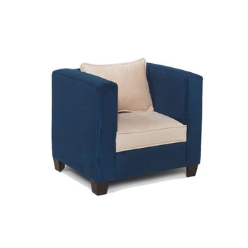 Komfy Kings, Inc 44013 Modern Kids Chair Navy Beige Micro