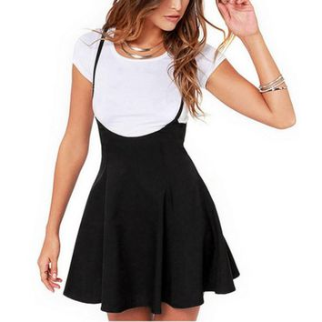 New Women Cotton Sleeveless adjustable Strapped Black Mini Pleated Dress Vestidos Plus Size