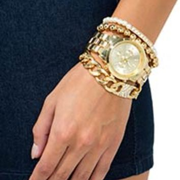 Gold Digger Metal Chrono + Chain Arm Candy