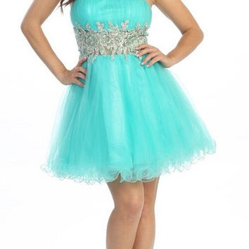 Short Studded Empire Waist Turquoise Puffy Prom Dress