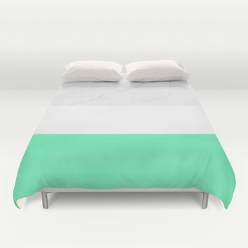 Marble White Mint Duvet Cover by ARTbyJWP