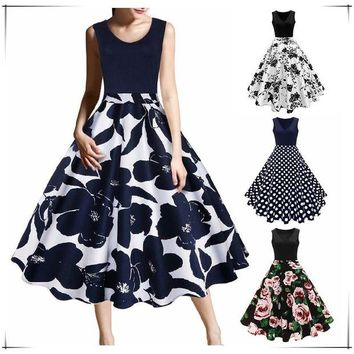 DCCKM83 New Arrival Women Fashion Cocktail Party Prom Dress Sleeveless Floral Print Dress
