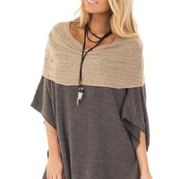 Charcoal Poncho with Taupe Contrast Neckline