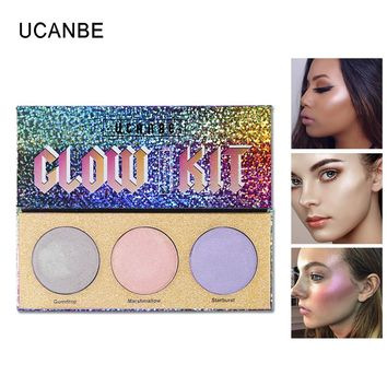 UCANBE Brand 3 Color Chameleon Highlighter Makeup Palette Crystal Sugar Highlighting Bronzer Glow Shimmer Eyeshadow Cosmetic Kit