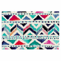 "Crystal Walen ""Celestial Tribal Stripe"" Teal Chevron Decorative Door Mat"
