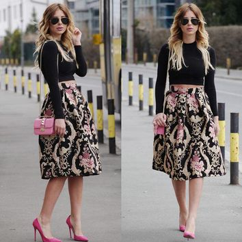 DCK9M2 Sexy Women Retro Floral High Waist Pleated Party A-Line Midi Skater Skirt
