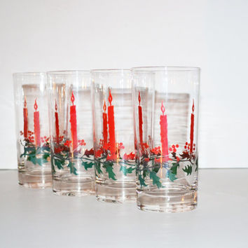 Vintage Christmas Tumblers Christmas Glasses Set of 4 Glasses with Red Candles and Holly Christmas Drinking Glasses