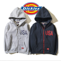 Men 's hooded sweater dickies letter printed version of the classic cotton jacket plus cashmere cardigan Gray