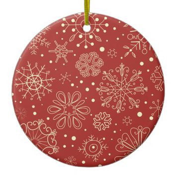 Beige Mahogany Christmas Snowflake Circle Ornament