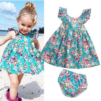 US Boutique Kids Baby Girls Summer Floral Dress Sundress Briefs Outfits Clothes