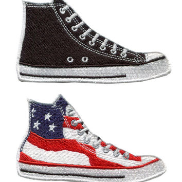 Vintage Style High Top Basketball Sneaker Shoe Patch Badge (9.5cm) Black and Flag Star