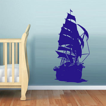 rvz1054 Wall Decal Vinyl Sticker Nursery Kids Baby Big Ship Ocean Sea Pirate (Z1054