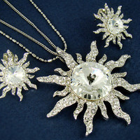 Womens Silver Plated Sun Pendant Double Necklace Earrings Set Swarovski Crystal Nickel Free