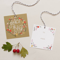 Pomegranate Wreath Holiday Gift Tags