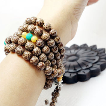 Mala Beads, Vajra Bodhi Pipal Tree Seed Bracelet, 108 Seeds Prayer, Beads Boho B