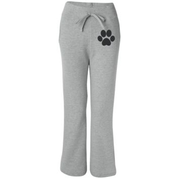 Paw Print Women's Open Bottom Sweatpants with Pockets