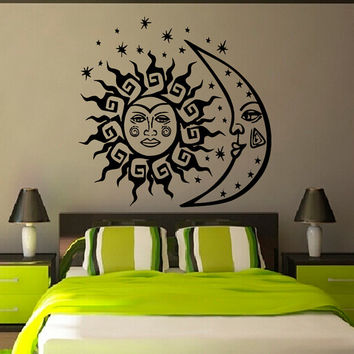 Sun And Moon Wall Decals Mandala Bedroom Sunshine AmuIets Indian Pattern Stars Home Vinyl Decal Sticker Kids Nursery Baby Room Decor kk778