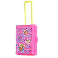 Play House Pink Plastic 3D Travel Train Suitcase Luggage For Barbie Doll