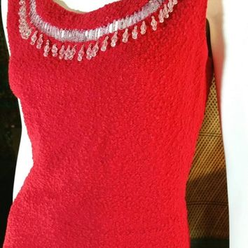 AS IS 50's Crystal Bead Wool Wiggle Dress by Kimberly, Coral Red Dress with Beaded Trim, Kimberly Wool Dress, Beaded Dress, Size SM