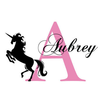 Unicorn Wall Decal Personalized With Initial And Name For Girl Baby Nursery Or Teen Girls Room Princess Theme Vinyl Wall Art 22H x 36W GN056
