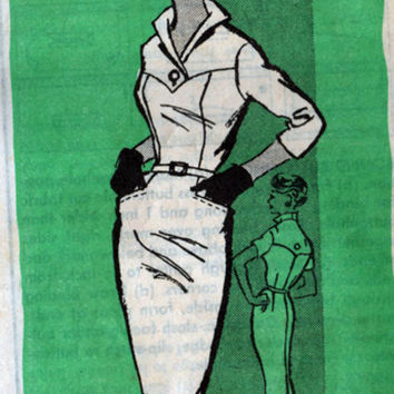 Vintage 1960s Mail Order Pattern 4906 Madmen Va Va Va VOOM Wiggle Dress with Stand up Collar Size 18