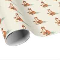 Momma Fox and Baby Watercolor Illustration Wrapping Paper