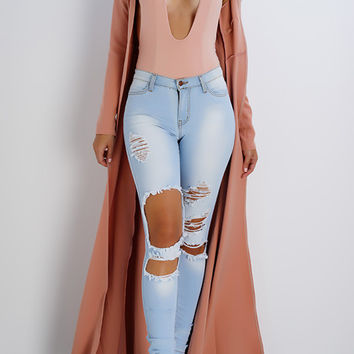 Yanna Long Duster Coat- Peach