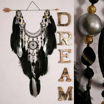Dreamcatcher black dream catcher Arrow Copper Moon black dreamcatchers copper dreamcatcher native american Indian talisman boho wall decor