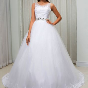 Sheer Neck Illusion Ball Gown Wedding Dress Lace Appliques Crystal Bead Belt Wedding Gown