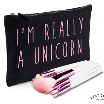 I'm Really A Unicorn Slogan Make Up Bag Case Makeup Gift Clutch Contents Pink