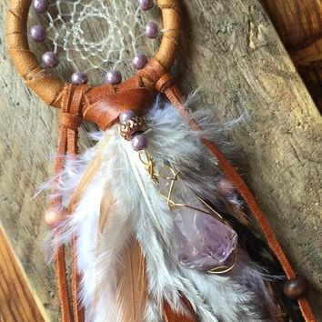 Amethyst Car Dream Catcher, Mini Amethyst Dream Catcher
