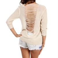 Ivory 3/4 Sleeve Cut Out Back Sweater