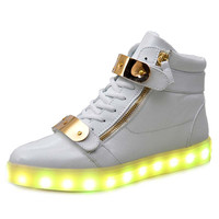 7 Colors Unisex Led Luminous Light Shoes Men Women Fashion USB rechargeable Light Led Shoes for Adult Black White