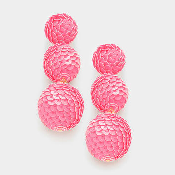 Pink Sequin Triple Bon Bon Style Earrings, Sequin Ball Earrings, Triple Ball Drop Earrings, Drop Earrings, Sequin Ball Earrings