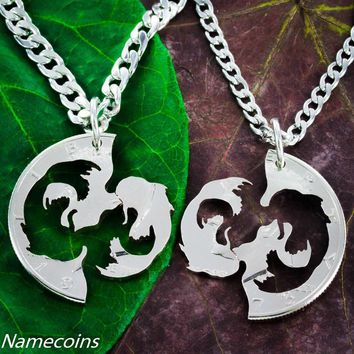 Koi Fish Necklaces, Asian Jewelry, Hand Cut half dollar by Namecoins