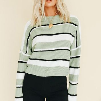 Casual Striped Sweater Women Short Pullover Long Sleeve Loose Jumper Green Women Top