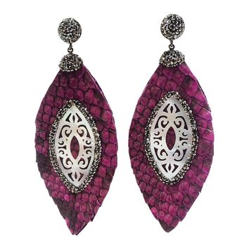 mother of pearl feather leather earrings magenta