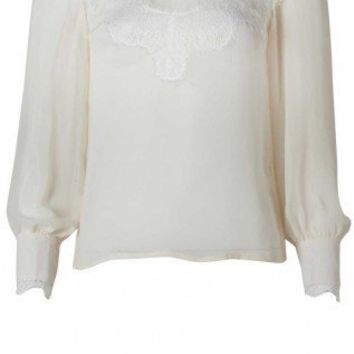 Vintage Lace Trim Blouse Cream - AX Paris